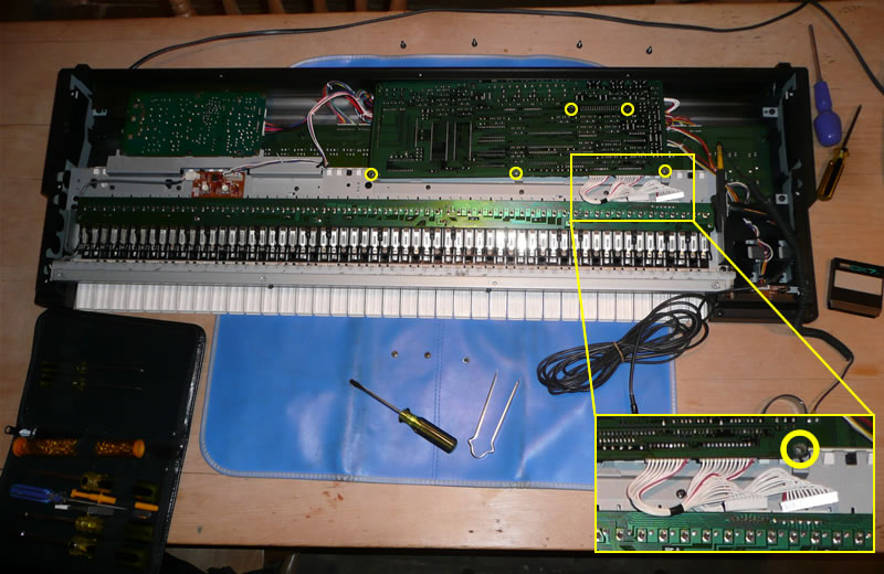 Yamaha DX7s motherboard removal - board screws